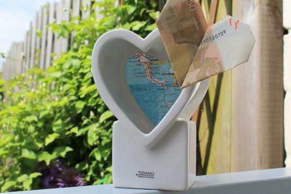 TIZIANO Teelicht Vida als Geldgeschenk Herz Geldschein