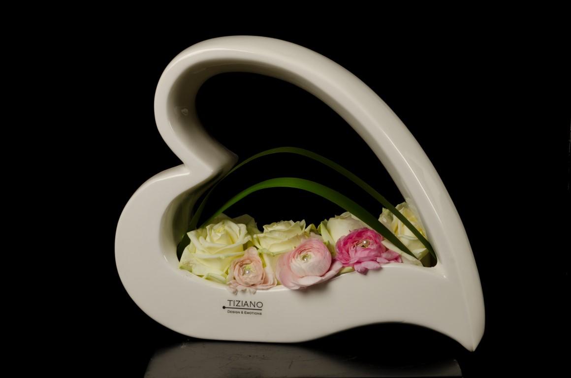 TIZIANO Schale Avellino Hochzeitsdeko weiße rosa Rosen