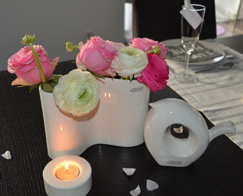 Liebevolle tischdeko in grau wei und rosa tiziano design for Tischdeko in rosa